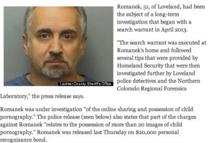 Un articolo dedicato all'arresto di Stan Romanek.