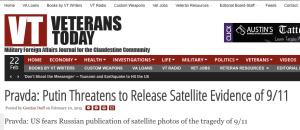 """Il titolo di Home Page di Veterans Today dedicato alla """"minaccia di rivelazioni"""" da parte di Putin."""