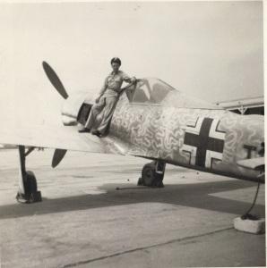Capt. Wendelle Stevens at ATIC Flight Test, 1947 (W. Stevens Archive).