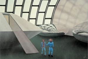 Nell'illustrazione realizzata da Mike Rogers, Walton all'interno dell'astronave, accompagnato da un alieno di tipo umano.